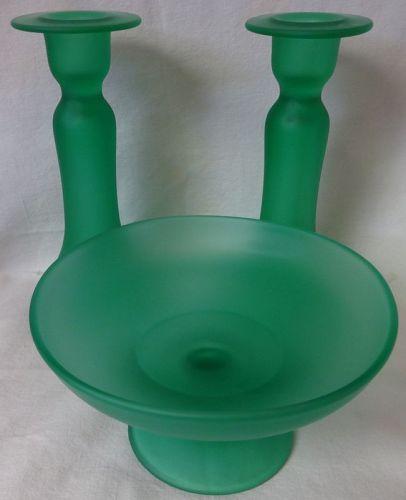 Green Satin Bon Bon & Candlestick Pair Tiffin Glass Company