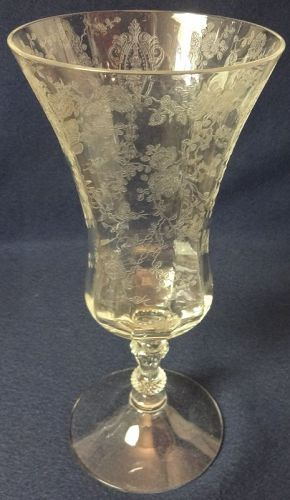 """Rose Point Crystal 3500 Low Footed Ice Tea 7.75"""" 12 oz Cambridge Glass"""