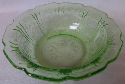 "Cherry Blossom Green Cereal Bowl 5.75"" Jeannette Glass Company"