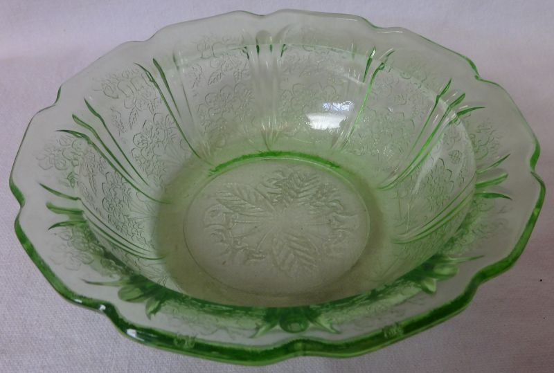 """Cherry Blossom Green Cereal Bowl 5.75"""" Jeannette Glass Company"""