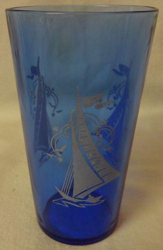 """Fancy Ships Ritz Blue Tumbler 4 7/8"""" Hazel Atlas Glass Company"""