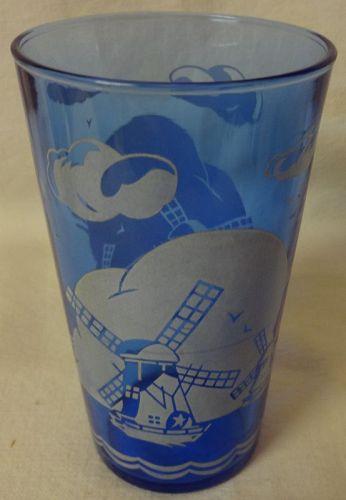"Windmill Ritz Blue Tumbler 4 5/8"" 9 oz Hazel Atlas Glass Company"