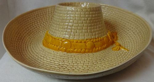 Hat Chip & Dip Tan and Yellow USA Pottery