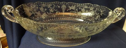 """Rose Point Crystal Oval Bowl Handled Footed 12"""" 3500/21 Cambridge"""