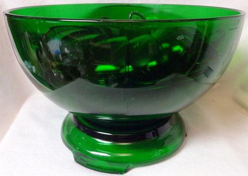 """Forest Green Punch Bowl, Stand, & 12 Cups 10"""" 6.5"""" Tall Anchor Hocking"""