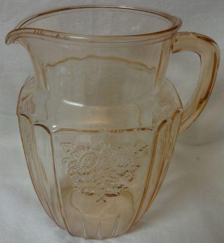 "Mayfair Pink Pitcher 8"" 60 oz Hocking Glass Company"