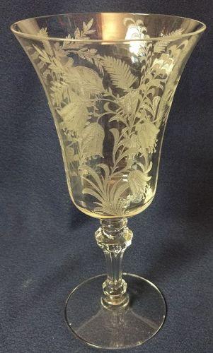 "Fuchsia Crystal Goblet 7 5/8"" Tiffin Glass Company"