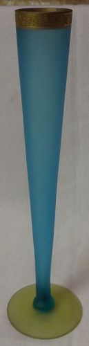 "Minton Gold Encrusted Bud Vase Blue & Canary Satin 10.75"" Tiffin Glass"