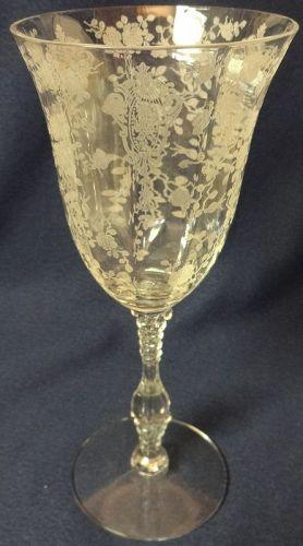 "Rose Point Crystal Goblet 3121 10 oz 8.25"" Cambridge Glass Company"