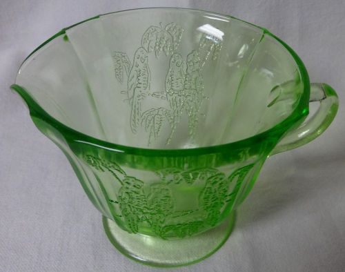Parrot Green Creamer Federal Glass Company