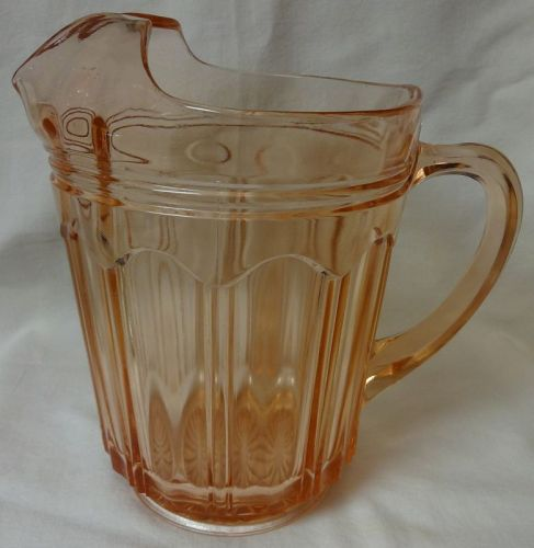 "Colonial Pink Pitcher 8.25"" Ice Lip Hocking Glass Company"