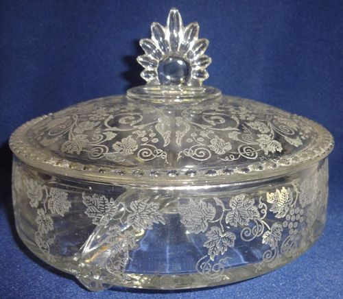 """Wild Rose Crystal 3 Part Candy & Lid 7 3/8"""" New Martinsville Glass"""