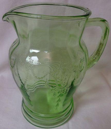 "Cameo Green Pitcher 8.5"" 56 oz Hocking Glass Company"