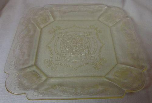 "Lorain Yellow Salad Plate 7.75"" Indiana Glass Company"