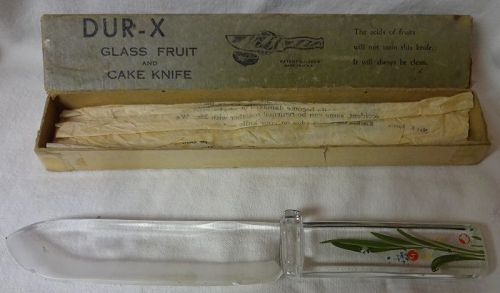 "Buffalo Crystal Glass Knife 9.5"" Thumbguard in Box"