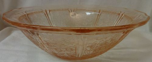 """Cherry Blossom Pink Round Bowl 8.5"""" Jeannette Glass Company"""