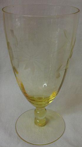 "Jubilee Yellow Water Tumbler 6"" 10 oz Lancaster Glass Company"
