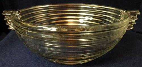 "Manhattan Crystal Handled Bowl 7.5"" Hocking Glass Company"