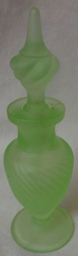 "Milady Green Satin Perfume 5.75"" Tiffin Glass Company"