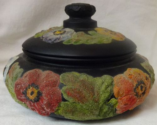 "Powder Box & Cover Black Satin #8142 7"" with Coralene Tiffin Glass"
