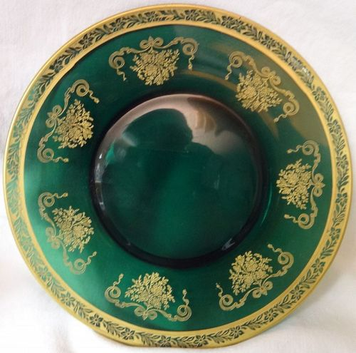 "Melrose Kilarney Green Gold Encrusted Plate 8.25"" Tiffin Glass Company"