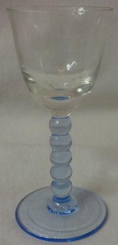 "Cordial Crystal Bowl & Blue Stem & Foot 3.75"""