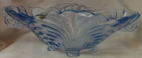 "Caprice Moonlight Blue Bowl Oval 11"" 4 Footed #65 Cambridge Glass"