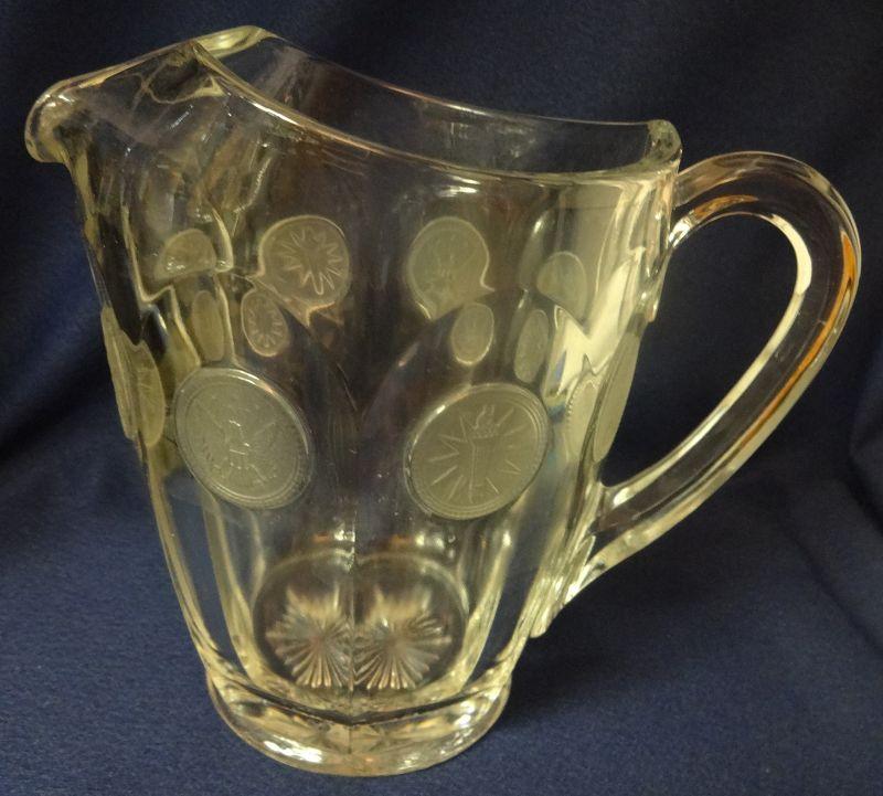 "Coin Crystal Pitcher 6 3/16"" 32 oz Fostoria Glass Company"