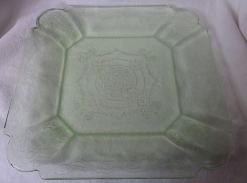 "Lorain Green Luncheon Plate 8.75"" Indiana Glass Company"