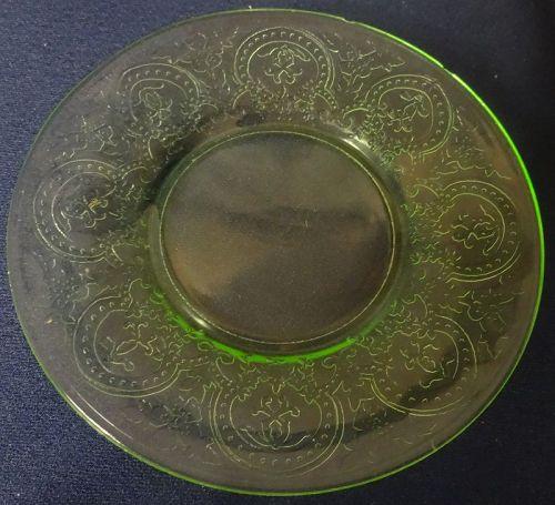 "Horseshoe Green Sherbet Plate 6"" Indiana Glass Company"
