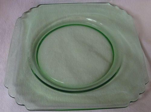 "Mayfair Green Plate 7"" Fostoria Glass Company"