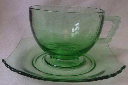 Mayfair Green Cup & Saucer Fostoria Glass Company
