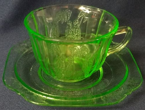 Parrot Green Cup & Saucer Federal Glass Company