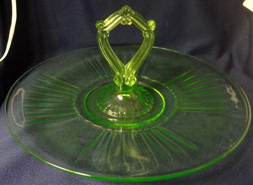 Mayfair Green Center Handled Server Hocking Glass Company