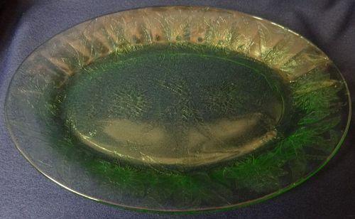 "Floral Green Platter Oval 10.75"" Jeannette Glass Company"