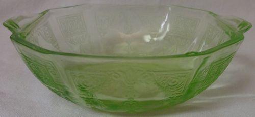 "Princess Green Berry Bowl 4.5"" Hocking Glass Company"