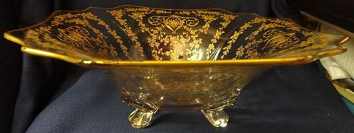 "Diane Crystal Gold Encursted Bowl 11.75"" Square 4 Footed Cambridge"