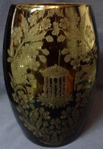 "Utopia Black Vase 8.25"" Elliptical #182 Paden City Glass Company"
