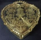"Utopia Crystal Candy & Lid 8.75 x 7.5"" Heart Shaped Paden City"