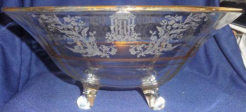 "Gazebo Crystal Bowl 12"" 4 Footed Gold Trim Paden City Glass Company"