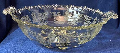"Gazebo Crystal Bowl 9"" Handled #555 Paden City Glass Company"