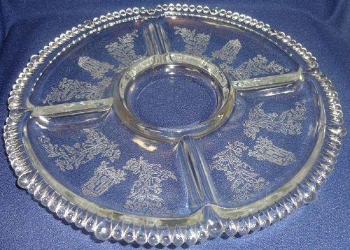 "Gazebo Crystal Relish 10"" 5 Part #555 Paden City Glass Company"