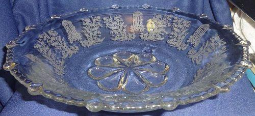 "Gazebo Crystal Bowl 13"" Flanged Rim #555 Paden City Glass Company"
