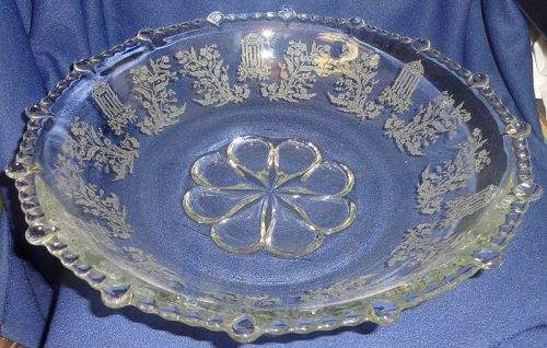 "Gazebo Crystal Bowl 13"" #555 Paden City Glass Company"
