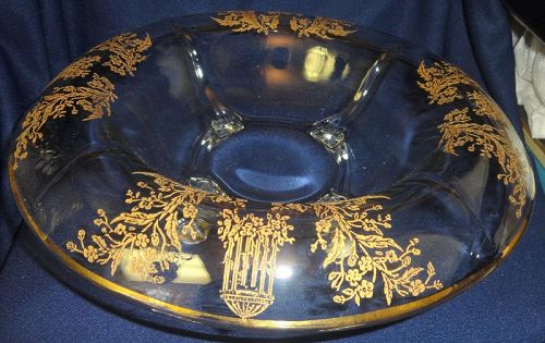 """Gazebo Crystal Gold Encrusted Console Bowl 12"""" 4 Footed Rolled Edge"""