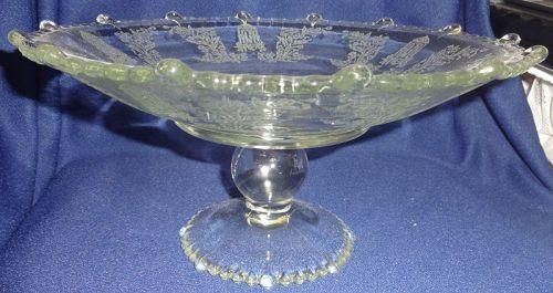 "Gazebo Crystal Comport 10"" x 7.5"" Tall #555 Flared Paden City Glass"
