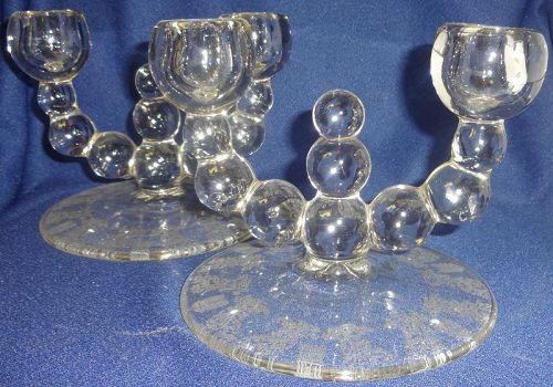 "Gazebo Candlestick Pair Crystal #444 Duo 6"" Paden City Glass Company"