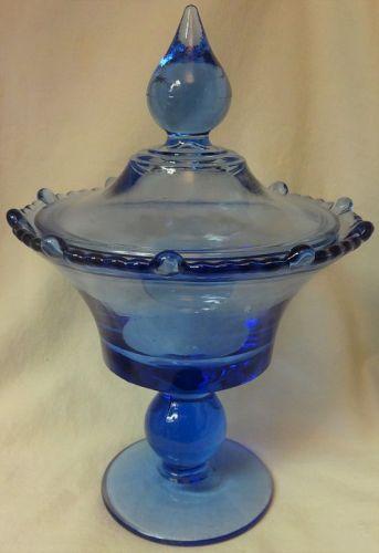 """Mr B Blue Candy 9.75"""" #555 Paden City Glass Company"""