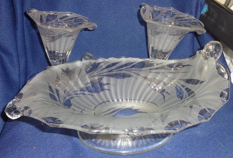 "Silvertone Etch Crystal Bowl 11"" & Pair Candlesticks 5.75"" Fenton"