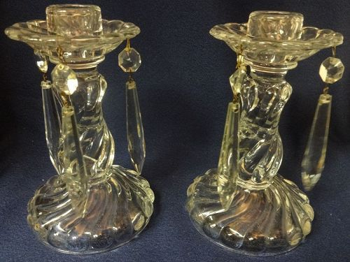 """Colony Crystal Candlestick Pair 6"""" with Prisms Fostoria Glass Company"""